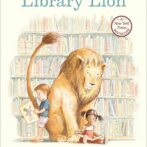 Library Lion Book Cover - a lion in a library with two children