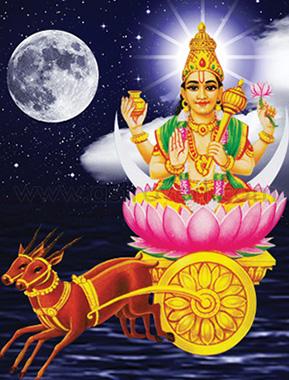 Illustration of Goddess Chandra and the moon