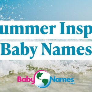 An image of a wave on a beach with the title Summer Inspired Baby Names.