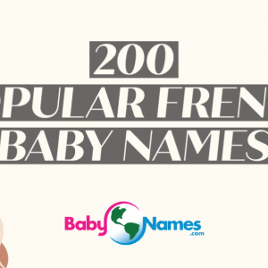 The title is 200 Popular French Baby Names and contains illustrations of the Eiffel Tower and Arc de Triomphe.