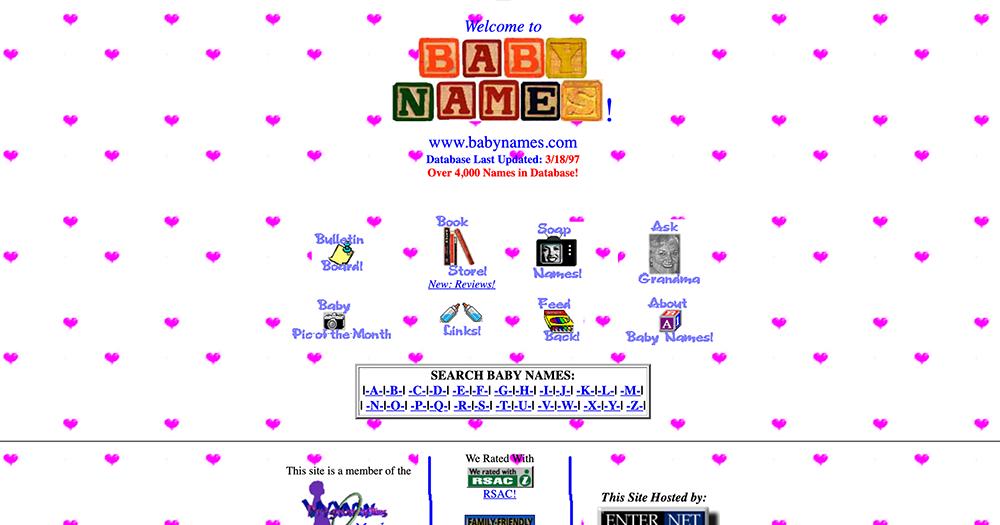 Screenshot of BabyNames.com in 1996